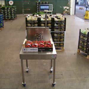 Piattaforma monicella portatile per la pesatura di casse di frutta