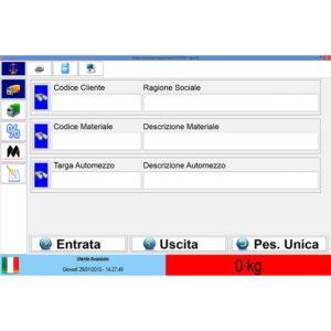 Schermata per la registrazione degli automezzi e la gestione delle pese a ponte